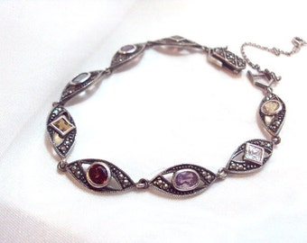 Sterling Silver, Marcasite, Semi Precious Stone Link Bracelet
