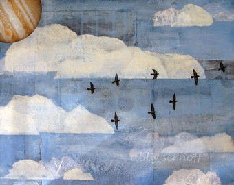 Framed Flying Birds  Original Mixed Media Collage Flying Home 18 x 24