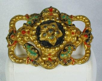 Vintage Gold Tone Metal and Enamel Floral Brooch