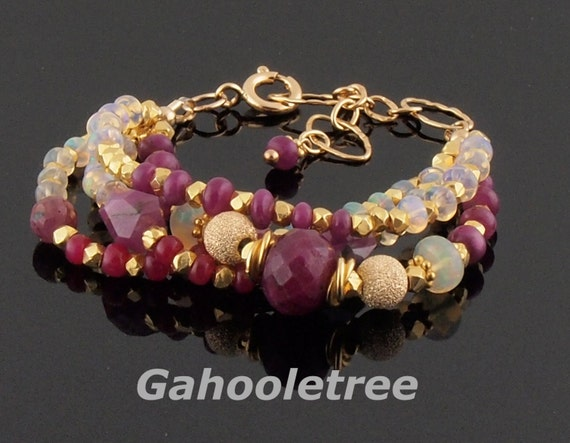 Ruby and Firey Ethiopian Welo Opal Bracelet by Gahooletree