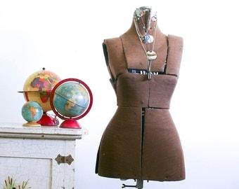 Vintage Adjustable Dress Form / Army Green / Industrial Decor