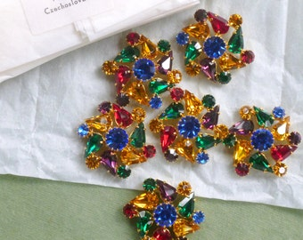 Vintage Czech Prong Set  Rhinestone Buttons