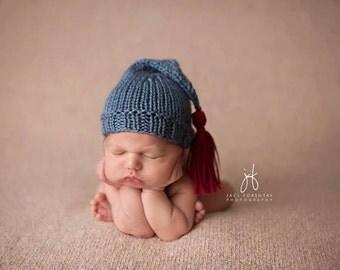 Newborn Baby Pixie Hat with Tassel - newborn photo prop