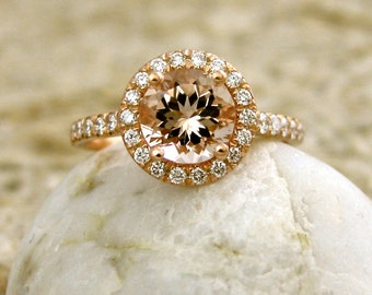 Natural Peach Apricot Morganite Engagement Ring with Diamonds in 14K Rose Gold Size 7