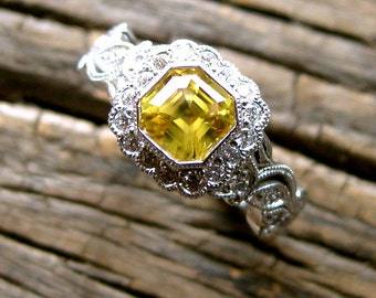 Asscher Cut Yellow Sapphire Engagement Ring in 14K White Gold with Diamonds in Flowers and Leafs on Vine Motif Size 6