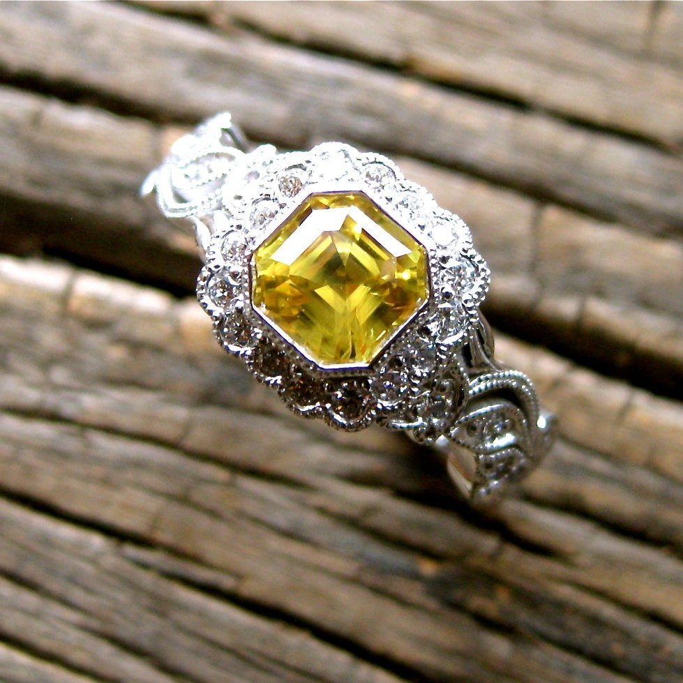 Asscher Cut Yellow Sapphire Engagement Ring in 14K White Gold