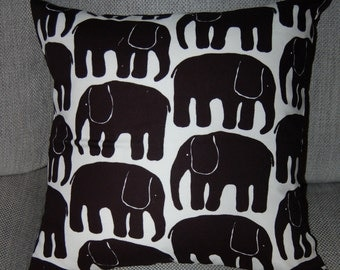 "Black Retro Elephant pillow  case, cushion cover 18x18"", 45x45cm, from Finland"