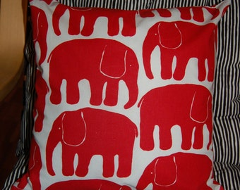 "Red Retro Elephant pillow case , 14x14"", 35x35 cm, from Finland"