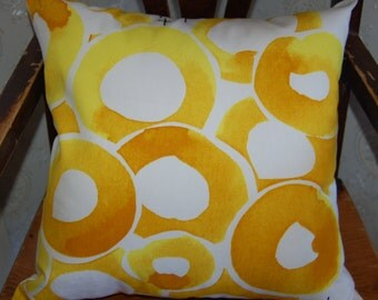 "Modern pillow case 18"" ,45 cm, durable Swedish cotton canvas, yellow, black and white, Sweden"