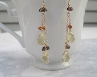 Lemon Quartz Earrings- Gold Filled, Smoky Quartz, Hessonite Garnet