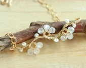Moonstone Gold Chain Bracelet, White Wedding Bracelet, Dainty Flower Bracelet