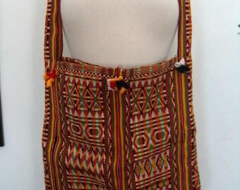 Vibrant Multicolor Woven Cotton Cross Body Shoulder Purse