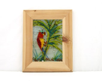 Painting on glass  Red  parrot Fused glass painting.