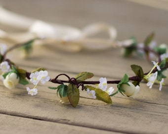 Set of 2 Ivory Flower Girl crown bridal Wedding accessory bridesmaids Hair Wreath Halo party International ship UK made in USA