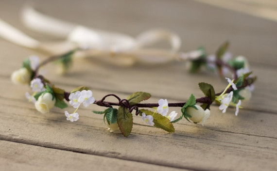 Flower Girl headband Wedding Hair Wreath Halo Ivory bridal Rustic Chic accessories circlet woodland crown head wreath hair garland