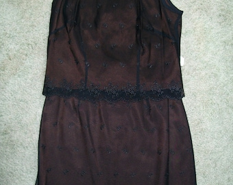 Vintage skirt and sleeveless top black lace overlay So Pretty Small