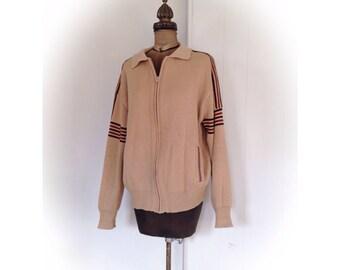 Vintage Knit Zip Up Cardigan Jacket Cambridge By Sweet Size Large