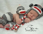 Grey Infant Crocheted Sock Monkey Earflap Hat and Legwarmer Set
