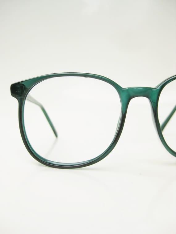 Glasses Frames Green : Vintage Green Eyeglasses 1970s Oversized Round Glasses Forest