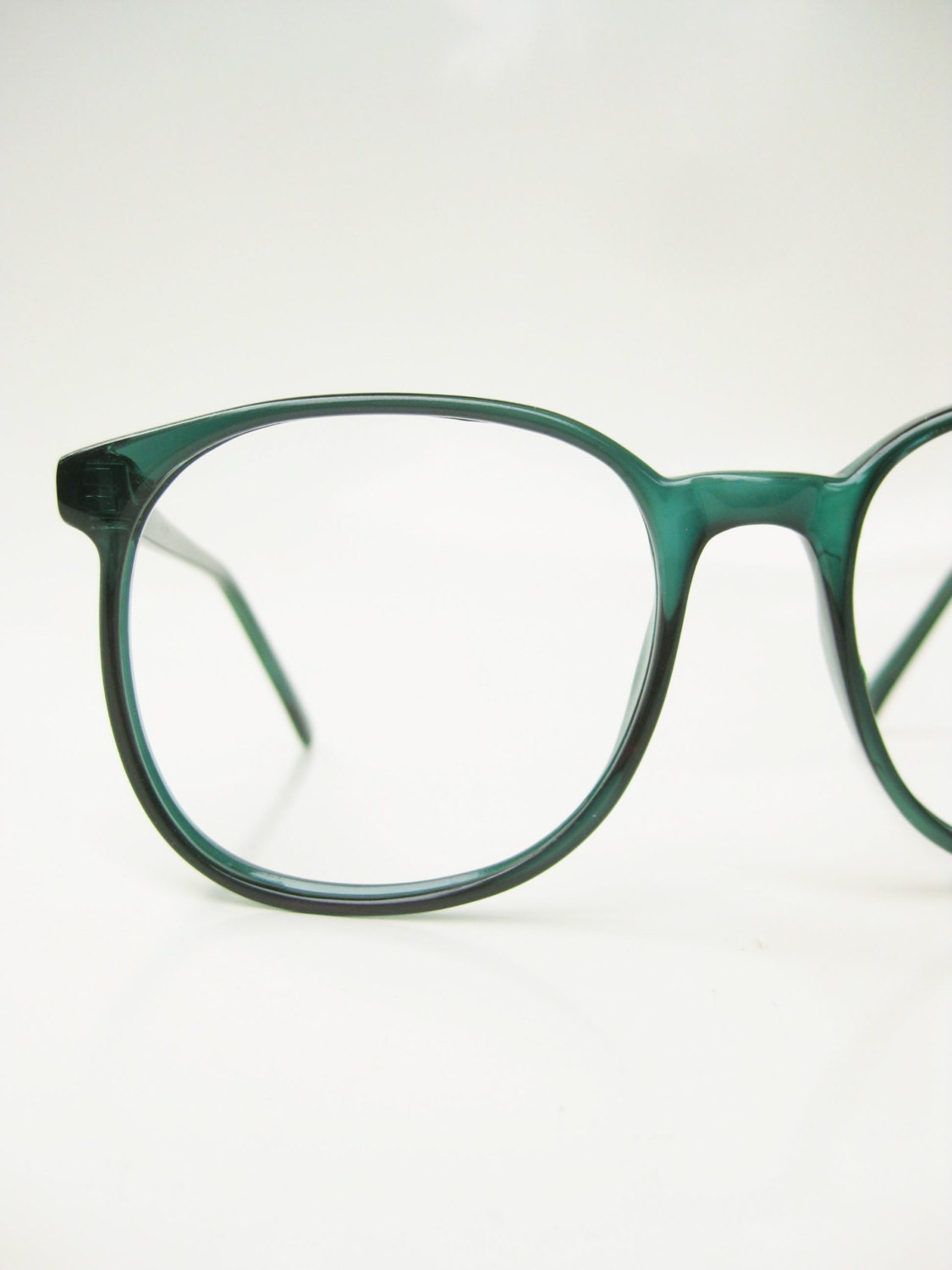 Vintage Green Eyeglasses 1970s Oversized Round Glasses Forest
