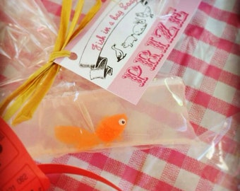 1 Party Favor Bathtub Fun Birthday Party County Fair Carnival Circus Prize Fish Soap in a Bag with Prize Card tied with Raffia