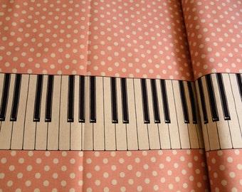 Pink white and polka dots keyboard piano fabric from Kokka Japan Half Yard