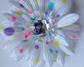 Adorable Polka Dot Gerbera Daisy hair flower  with Jewel Center and Layers of Tulle