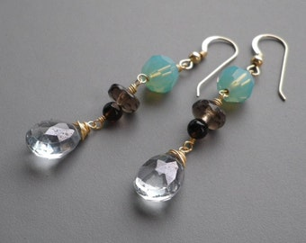 Aqua Sea Blue Smoky Quartz Gold Earrings