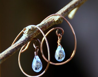 Winter Melt Earrings - Tiny Glass Raindrop Beads Dangle from Hammered Copper Hoops