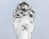 Spoon Keychain Silverware Key Ring American Beauty Rose Pattern R Monogram  Romantic Bridesmaid Gift