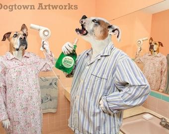 Gargle, large original photograph of boxer dog and American bulldog in pajamas in bathroom