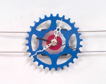 Recycled Bicycle Sprocket & Spoke Wall Clock - Red, White, and Blue