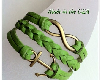Infinity and Anchor bracelet, Charm bracelet, Friendship bracelet