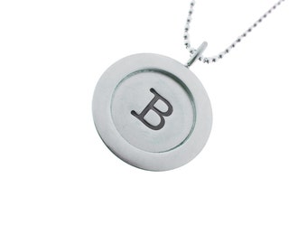Bold Initial Jewelry High Polished Silver Wide Rim Initial Pendant Necklace Modern Edgy Designer Statement Womens Fashion Personalized USA