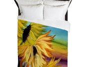 Sunflower Field Duvet Cover from my art. Available in twin,queen and king sizes