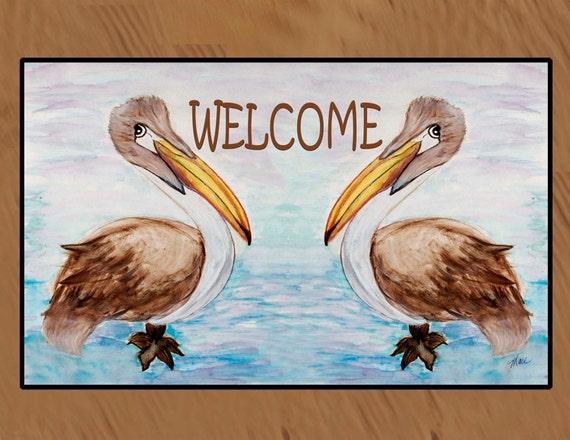 Welcome Brown Pelicans Tropical Coastal Bird Indoor Outdoor