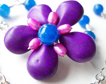 Purple flower necklace, asymmetrical gemstone flower necklace, beaded floral jewelry