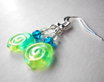 Czech glass earrings, yellow green spiral and capri blue Czech glass beaded earrings, dangle earrings with silver plated ear hooks