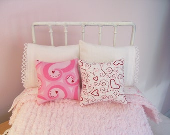 2 Piece Accent Pillow Set for 1/6 Playscale Bed for Blythe, Pullip, or Barbie Size Dolls...Valentine's Day...Reversible Pillows