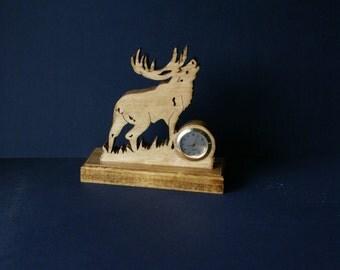 Bull Elk Big Game Wood Fretwork Desk Clock