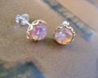 Tiny Fire Opal Stud Post- Round Glass Stainless Steel Earrings Small 7mm Pink
