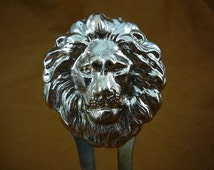 proud Lion head with mane hair pin pick stick repro Victorian brass accessory pick  I love lions CH-LION-2