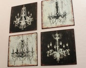 "Set of 4 Chandelier Tin Wall Plaques in Black and Cream 12"" Squares"