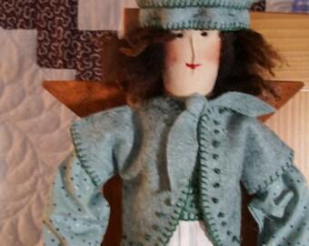 """Handmade folk art primitive  22"""" angel doll- Easter Egg Garland"""