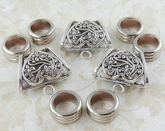 Set of Scarf Bails and Rings -  Antique Silver Trapezoid Scarf Bail - Scarf Accessories - Metal Scarf Jewelry