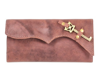 Large Ladies Checkbook Wallet - Womens Wallet with Extra Card Slots - Skeleton Key Accent