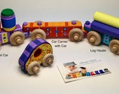 Wooden Toy Train Custom Painted and Hand Made by VibrantTrains. Custom Personalized Wooden Train.