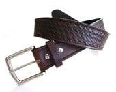 Handmade HOLMES Basket Stamped Leather Belt
