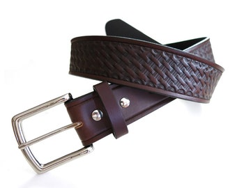 Handmade HOLMES Basket Stamped Leather Belt