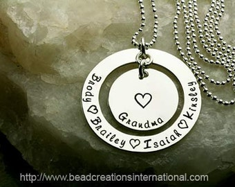 Hand Stamped Grandma Necklace with Four Names - For Mother or Grandma - Sterling Silver